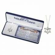 Necklace house Of David/Cross Silver Plated-lbox 24 Inches