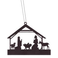 Christmas Ornament Metal Nativity Black (Pack of 6)