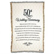 Cotton Throw Rug-48x68in. 50th Wedding Anniversary