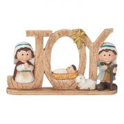 "Figurine Resin 5.5"" Joy Word w/Holy Family (Pack of 3)"