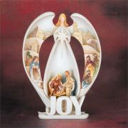 Figurine Resin Joy Angel/Holy Family Pack of 2