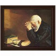 Grace Old Man Praying 20 x16in. Jack Garren Cherry Framed Art