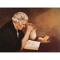 Gratitude Old Woman Praying 10x7 inches Mounted Print