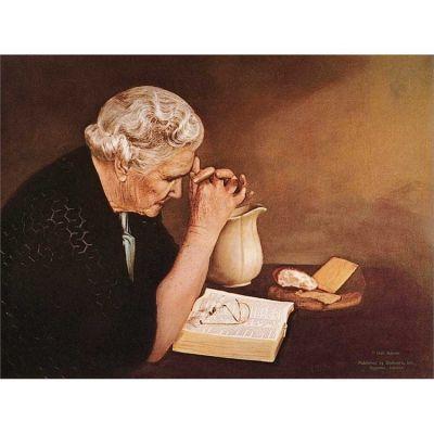 Gratitude Old Woman Praying 10x7 inches Mounted Print - 603799121507 - 7510-125