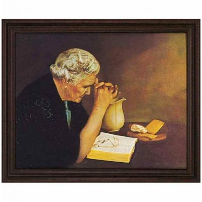 Gratitude Old Woman Praying 20 x16in. Jack Garren Cherry Framed Art - 603799148603 - 29-1620-125