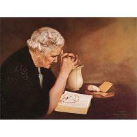 Gratitude Old Woman Praying at Table -  Mounted Print By Jack Garren