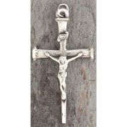 Necklace Large Crucifix Silver Plated Oxide Nail Cross 24 Inch