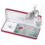 Necklace Silver Plated Cardinal Heart Locket 18 Inch Chain