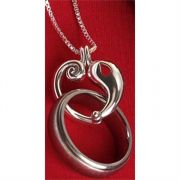 Necklace Silver Plated Ring Holder Reunion Heart 24 Inch