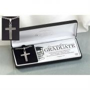 Necklace Stainless Steel Graduate Box Cross 24 Inch