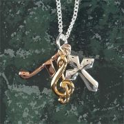 Necklace Tricolor Cross/Musical Note G Clef 18 Inch