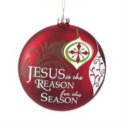 Ornament Glass Jesus is the Reason 4 Inch Red Pack of 3