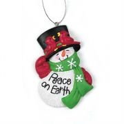 Ornament Resin 2.875 Peace On Earth Pack of 6