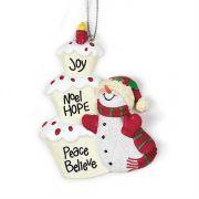 Ornament Resin 3.5 Inch Joy, Noel Pack of 6