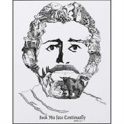 Plaque MDF Face of Christ Psalm 105:4 Pack of 2