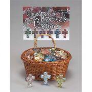Pocket Glass Crosses w/Basket Pack of 48