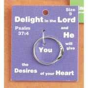 Ring Silver Plated Psalm 37:4 Size 7 Pack of 2