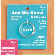 Ring Silver Plated Romans 8:28 Size 6 Pack of 2