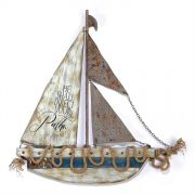 Sailboat/Wall Plaque Wood/Metal 25 Inch