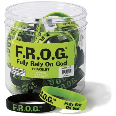 Silicone Bracelets F R O G Fully Rely On God Pack of 24 - 603799507851 - N-962B