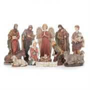 "Sparkle Frost Nativity 12 Pieces Set. 7 1/2"" High"