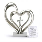 Tabletop Double/Heart w/Cross Silver Resin 8 in. high