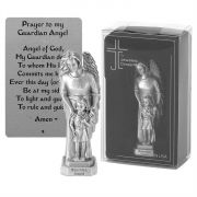 Tabletop Figurine 3.5 Inch Pewter Guardian Angel With Girl
