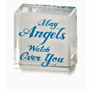 Tabletop Glass Plaque 1x1In May Angels Watch Over You 3pk