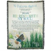 Throw Cotton 52x68 inch He Restoreth My Soul Psalm 23