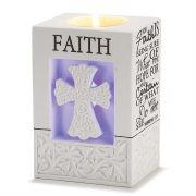 Votive Holder Resin 5in Led Faith Hebrews 11:1 Pack of 2