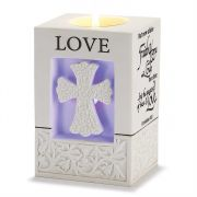 Votive Holder Resin 5in Led Love 1 Corinthians 13:13 2pk