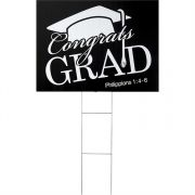 Yard Sign Congrats Grad Philippians 1:4 6 Pack of 3