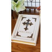 Jeweled Sapphire Crystal RSV Catholic Family Bible - White