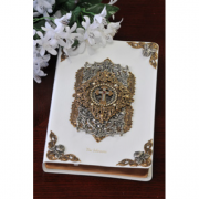 White Jeweled Cross and Pearl Bible-KJV