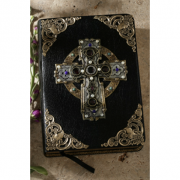 Garnet Celtic Cross Jeweled Bible-KJV