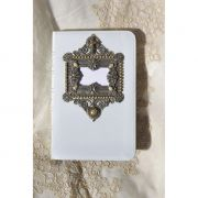 White KJV Compact Bible with a Silver metal frame with faux Pearls