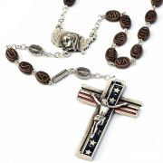 The USA Rosary in Antique Silver - Red And Blue Enamel - Ghirelli