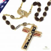 The USA Rosary in Gold Finish - Red And Blue Enamel - Ghirelli