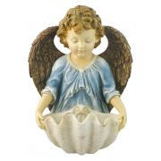 Angel Church Holy Water Bowl Font, Painted, 6 Inch