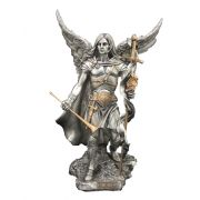 Archangel Gabriel, Pewter Style Finish, Golden Highlights, 9in. Statue