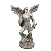 Archangel Michael, Pewter Style Finish, Golden Highlights, 9in. Statue