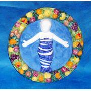 Christ Child Della Robbia, Painted Ceramic Wall Plaque, 10 Inch