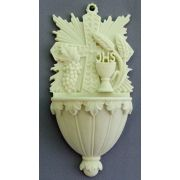 Communion Holy Water Bowl Font w/Wheat & Chalice, White Alabaster