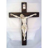 Crucifix, Antiqued Alabaster Cross & Corpus, 15 Inch