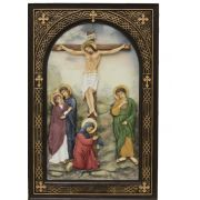 Crucifixion Plaque, Painted 6x9in. Stands Or Hangs