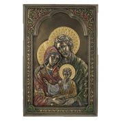 Holy Family Wall Plaque, Cold-Cast Bronze, Painted, 6x9in.