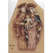 Holy Family Wall Plaque Painted Ceramic, 16 Inch