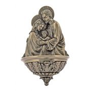 Holy Family Water Bowl Font, Cast Bronze, 9 Inch