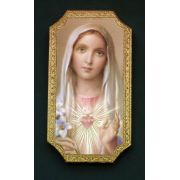 Immaculate Heart Of Mary Florentine Plaque, 4.75x9 Inch
