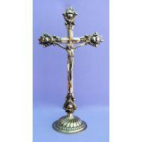 Italian Standing Crucifix, Shiny Brass, 14.5 In.